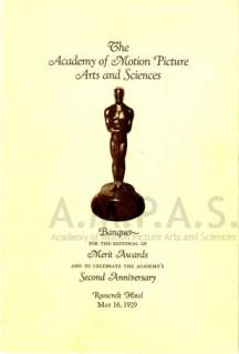 Program and menu, 1927/28 (1st) Academy Awards