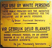 Un cartello dell'epoca dell'apartheid
