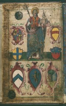 Pittore modenese (1538?), San Geminiano sorregge la città di Modena, Archivio Storico del Comune di Modena, Statuti Merciai, 1538-1779, c. 1. r.