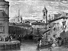 """Stampa d'epoca (1845 ca.). Raffigura il laghetto di Santo Stefano per il quale transitarono per oltre quattro secoli i materiali per il cantiere della Fabbrica del Duomo. Fu interrato nel 1857 per """"insalubrità"""". Da Wikipedia"""