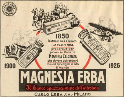 Magnesia Erba. Il bianco spazzacamino dell'intestino, inserzione. 1926, Archivio storico Carlo Erba