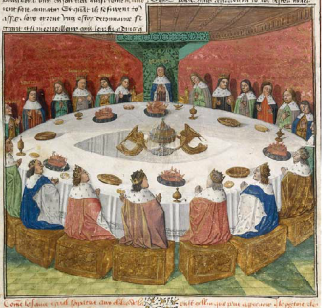 Apparition du Graal aux chevaliers de la Table Ronde - Compilation arthurienne Centre de la France 1466-1470  Ms. Fr. 112, vol.3 http://expositions.bnf.fr/arthur/grand/006.htm