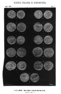 Tavola tratta da Rivista italiana di numismatica del 1888. Da Wikipedia.org