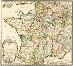 The political geography of France as illustrated on a map from 1762
