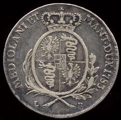 Il retro di uno scudo di Giuseppe II d'Austria: si notino le insegne del Ducato milanese. Wikipedia.org