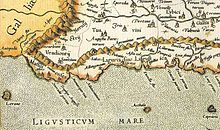 Antica mappa del 1576 del territorio ligure. Da Wikipedia.org
