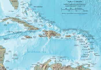 L'area geografica dei Caraibi. Wikipedia.org