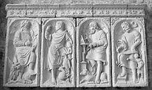 Raffigurazione dei quattro evangelisti presso l'abbazia di Mont-Saint-Michel, Francia. da: wikipedia