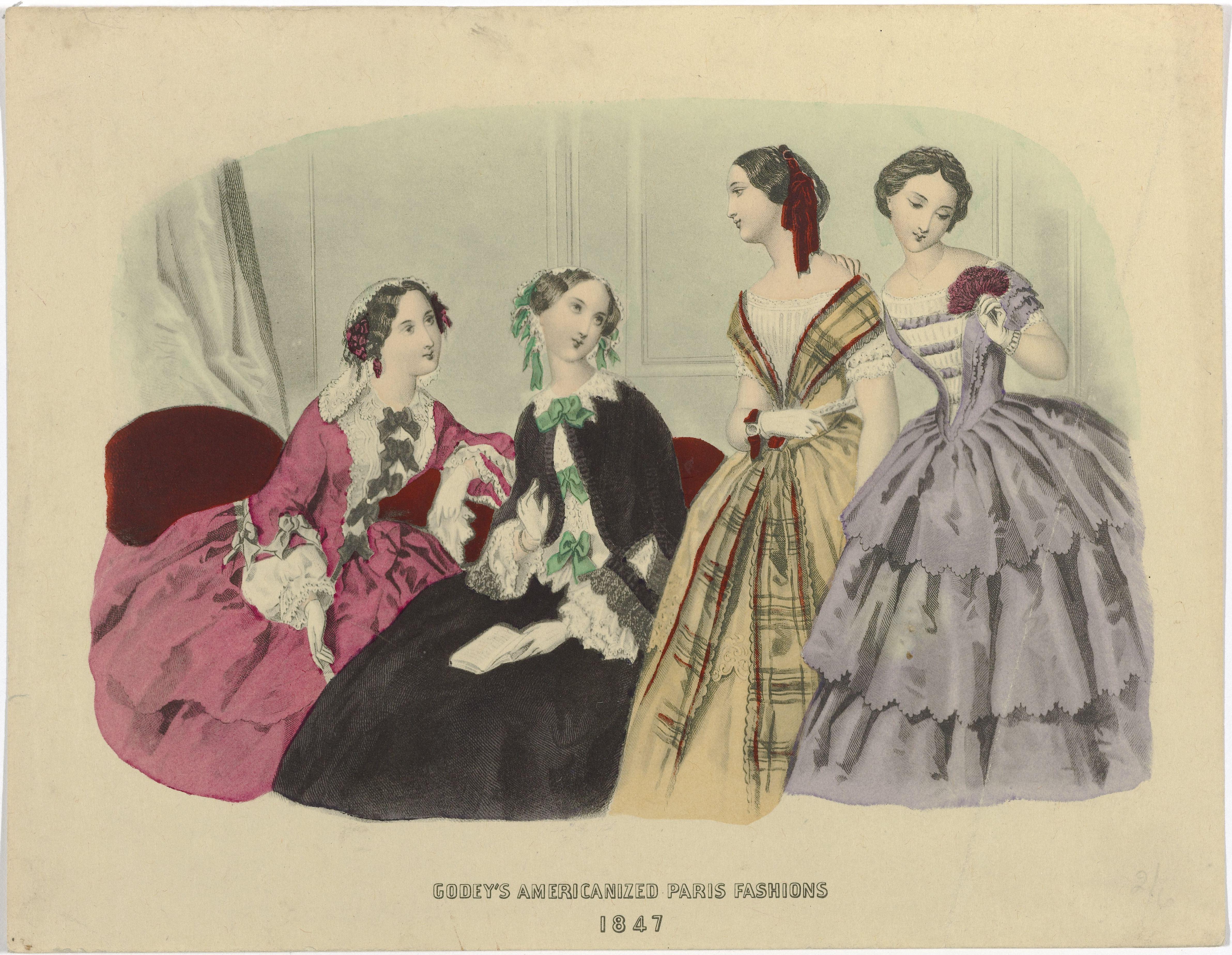 Figurini di moda del Godey's Ladies Book del 1847